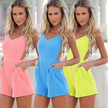 Big size XL V-neck Backless Chiffon Jumpsuit Women Summer Holiday Beach Rompers Women Sexy Jumpsuit Shorts Playsuit 12