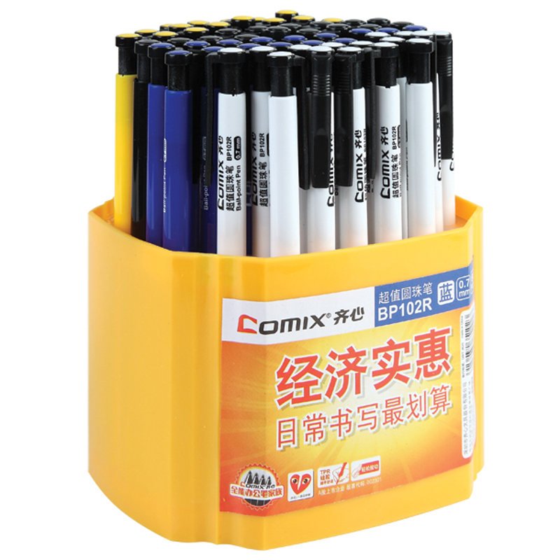 COMIX 60 Pieces Cheap Ballpoint Pen 0.7mm Ink Stationery Office Material School Supplies Papelaria Canetas Escolar BP102R metal ballpoint pen magnetic think ink pen anti stress for fidget spinner focus promotional gifts school supplies stationery