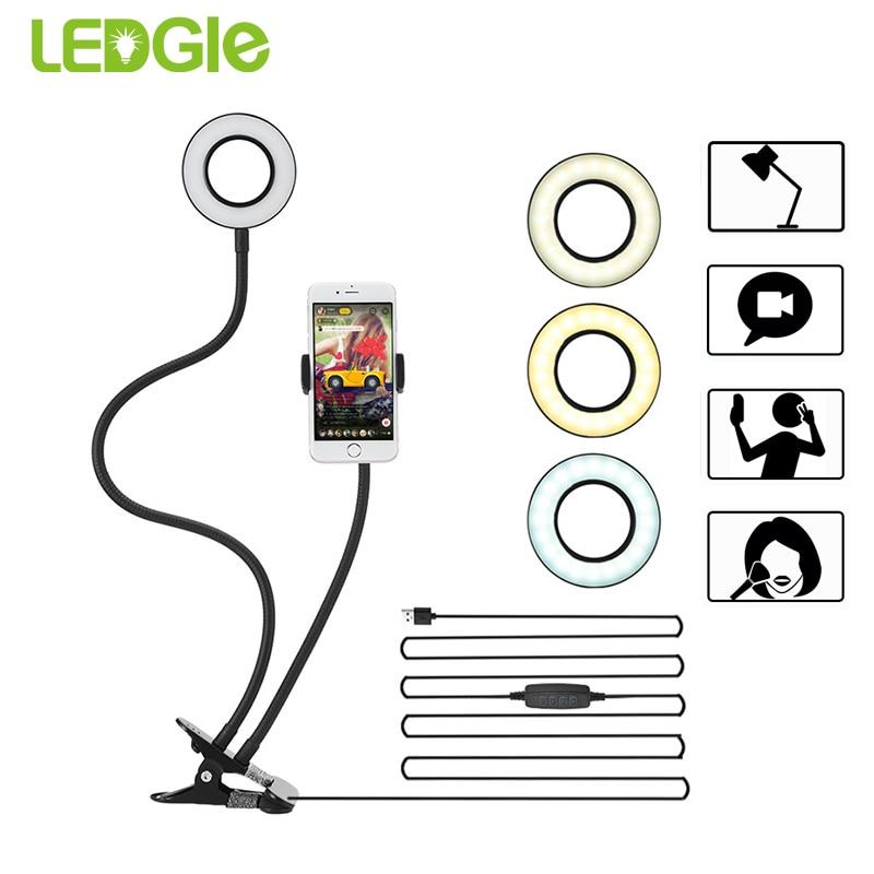 LEDGLE 10-Level Brightness table lamp Mini Camera Light for Makeup Selfie Live Stream Modern Led Desk Lamps 5W 2-in-1 Ring LightLEDGLE 10-Level Brightness table lamp Mini Camera Light for Makeup Selfie Live Stream Modern Led Desk Lamps 5W 2-in-1 Ring Light