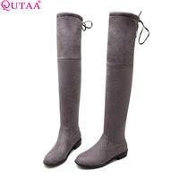 QUTAA Üzerinde 2017 Kare Düşük Topuk Kadın Streç Kumaş diz Boots Kadın Ayakkabı Papyon Bayanlar Motosiklet Boots Boyutu 34-43