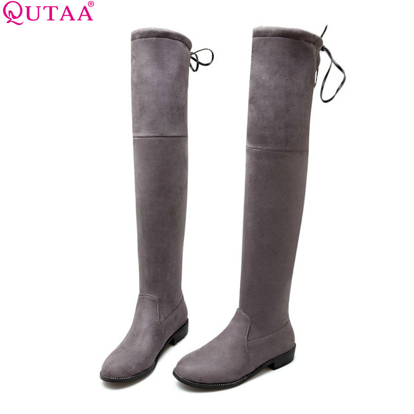 QUTAA 2017 Square Low Heel Woman Stretch Fabric Over The Knee Boots Women Shoes Bow Tie