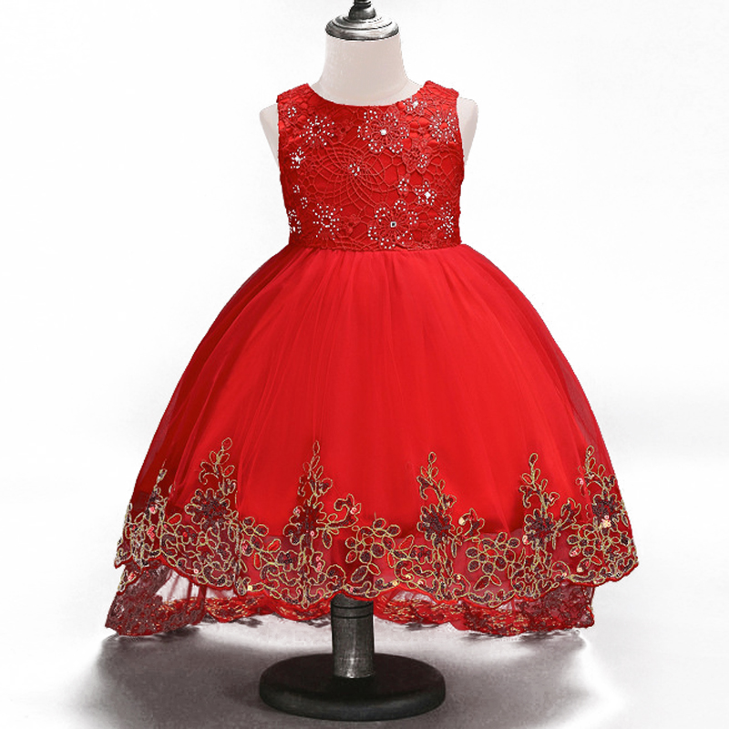 Embroidery Flower Girl Dress Kids Big Bow Sequin Clothes for Wedding Party Long Tail Summer Princess Evening Prom Dresses new fashion embroidery flower big girls princess dress summer kids dresses for wedding and party baby girl lace dress cute bow