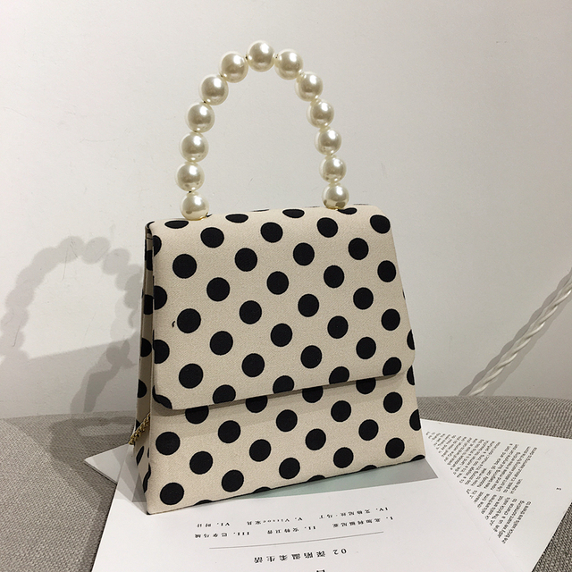 Women Polka Dot Handbag Vintage Women's Pearl Handle Flap Evening Bag Female Shoulder Bags Causal Lady's Crossbody Bag