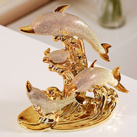 ceramic dolphin statue home decoration accessories crafts room decoration living room wedding ornament porcelain animal figurine