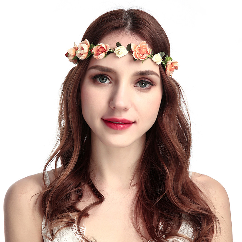 snowshine YLW  Boho Ladies Floral Flower Festival Wedding Garland Hair Head Band Beach Party freeshipping