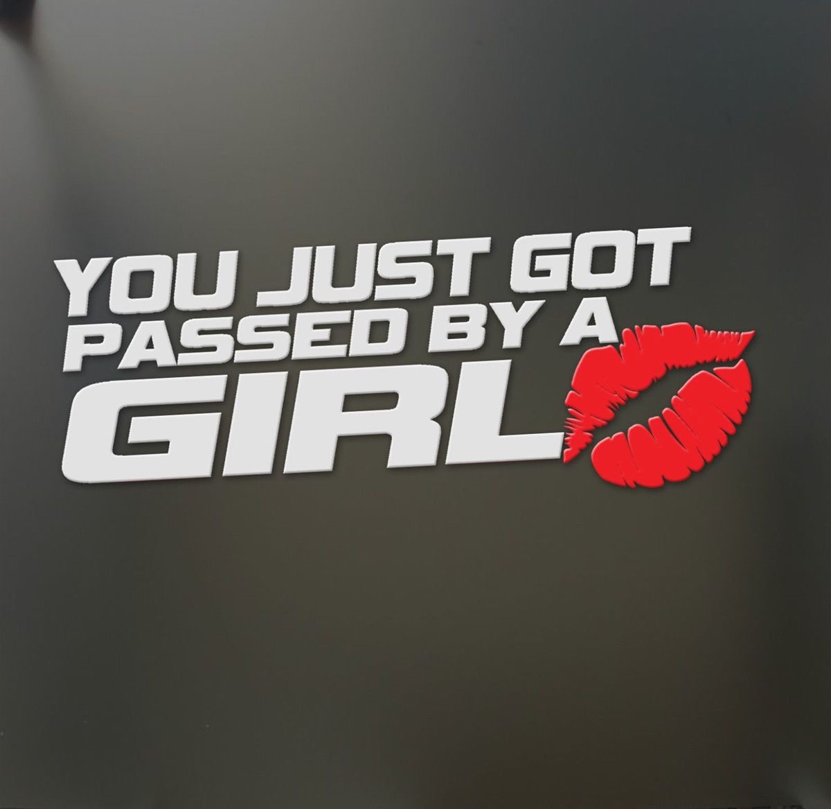 Car pass sticker design - You Just Got Passed By A Girl Kiss Mark Lip Sexy Lipstick Decal Vinyl Car Window Wall Home Sticker Halloween Xmas Decor Gift