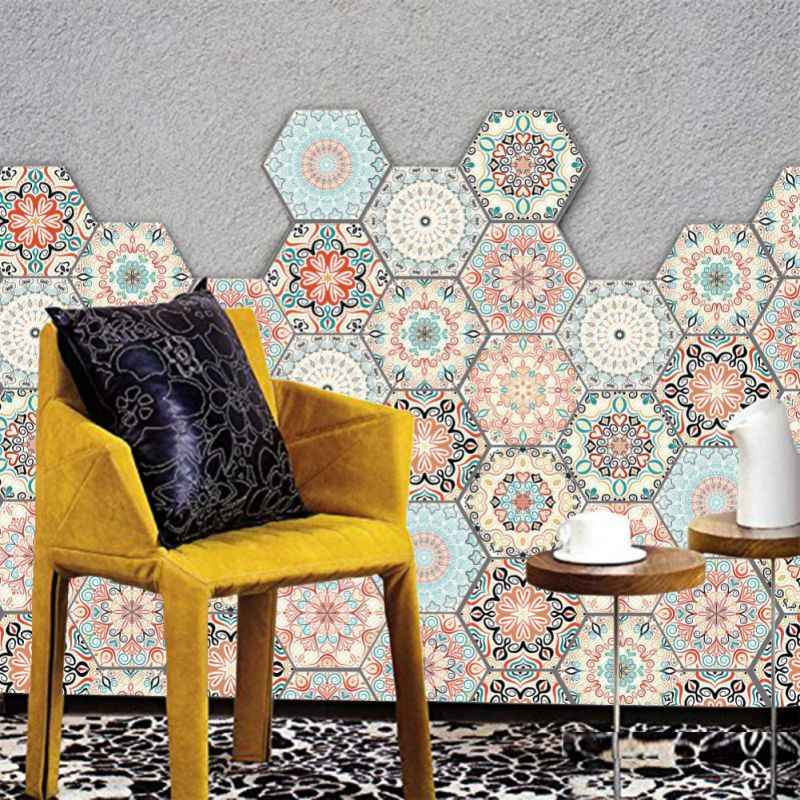 3D Tile Sticker Removable Waterproof Non-slip Self-Adhesive Wall Sticker Geometric Hexagonal Eco-friendly PVC  3D Sticker