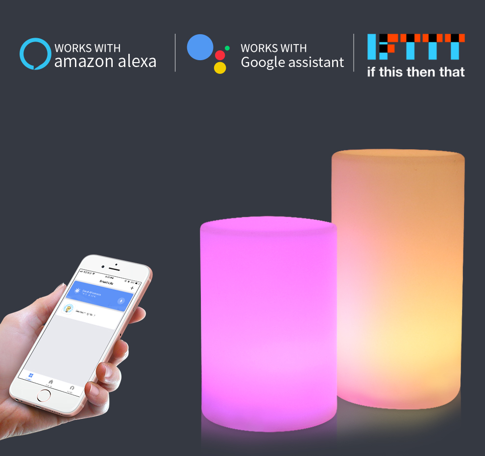 Cylinder Shape WiFi Smart Table Lamp Compatible with Alexa Voice Control Hand Touch LED Ambient Night Light Controlled by APP_F1
