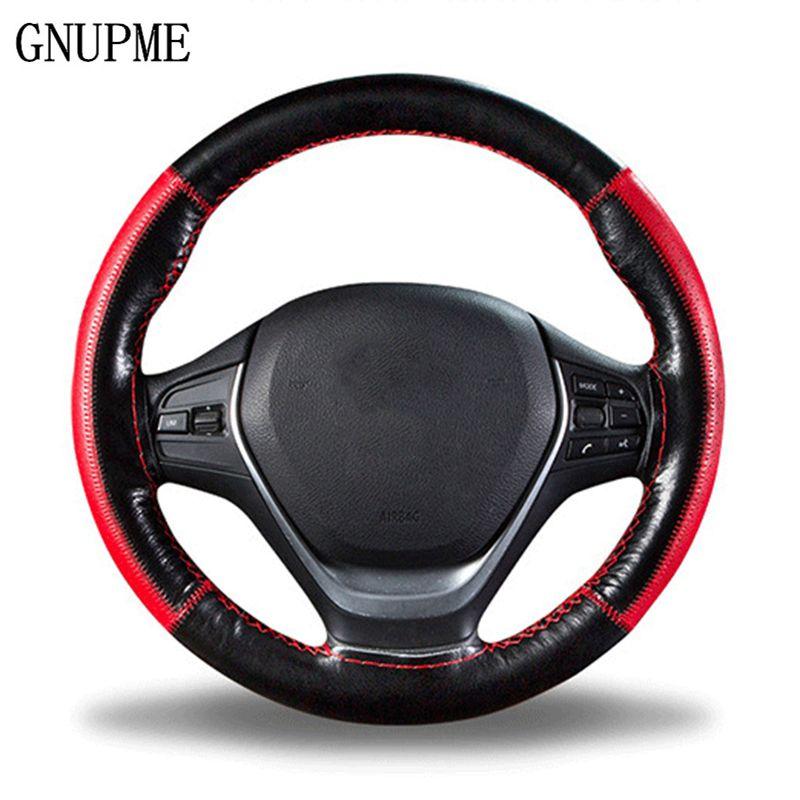 DIY trenza en el volante suave de cuero genuino cubierta del volante 38 cm Universal cubiertas de dirección con aguja e hilo