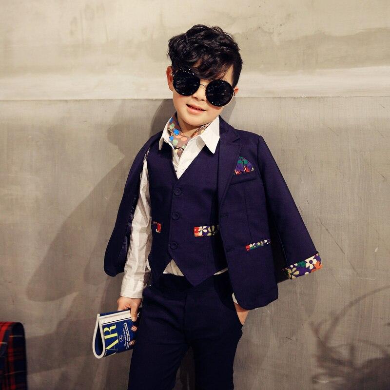 2016 spring new in boys children s gentlemen clothing set male child three piece set suit