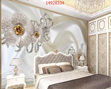 beibehang Custom size Luxury golden flowers swan jewels silk water pattern 3d stereo TV background wall behang wallpaper