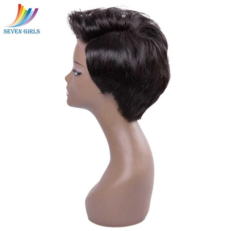 Малазийские бесклеевые короткие стриженые человеческие волосы парик влажные и волнистые девственные волосы полный парик шнурка для женщин 100% человеческие волосы бесплатная доставка