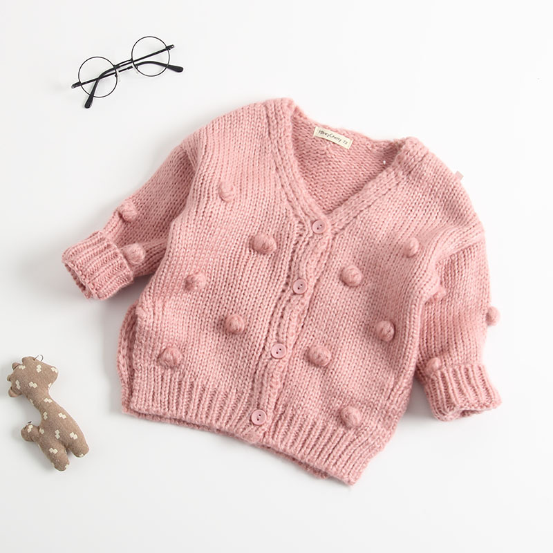Image 5 - Baby Hand made Bubble Ball Sweater Knitted Cardigan Jacket Baby Sweater Coat Girls Cardigan Girls Winter Sweaters-in Sweaters from Mother & Kids