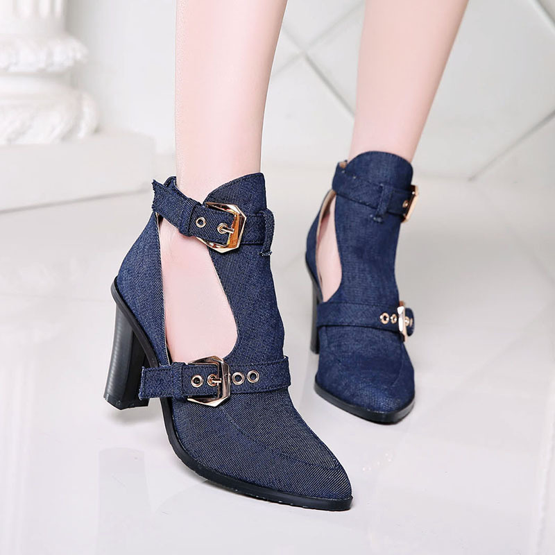 Summer Women Thick High Heel Pointed Toe Denim Buckle Sandals Shoes 2016 New Lady Fashion Jean Casual Shoes Size 34-39 SXQ0610 xiaying smile summer new woman sandals platform women pumps buckle strap high square heel fashion casual flock lady women shoes