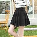 Spring female fashion High Waist Skirt Women's solid casual Pleated vintage midi Skirt 2016 street style Mini Slim skater skirts