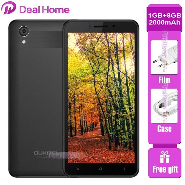 "Oukitel C10 3G Smartphone 1GB RAM 8GB ROM MTK6580 Quad Core 5.0"" 18:9 Display 0.3MP+2.0MP Camera Dual SIM 2000mAh Mobile Phone"