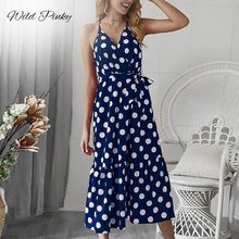 WildPinky Women Boho Polka Dot Summer Beach Midi Dress Evening Party V-Neck High Waist A Line Strap Chic Femme Vestidos