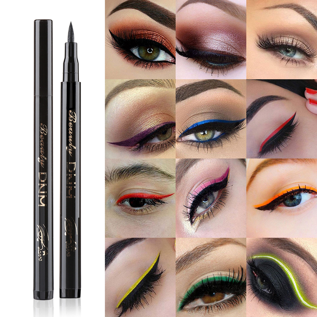1PC Colorful Liquid Eyeliner Pencils Fast Dry Long Lasting Waterproof Thin Head Eye Liner Pen Makeup Tools Black/Blue/Red/Brown 2
