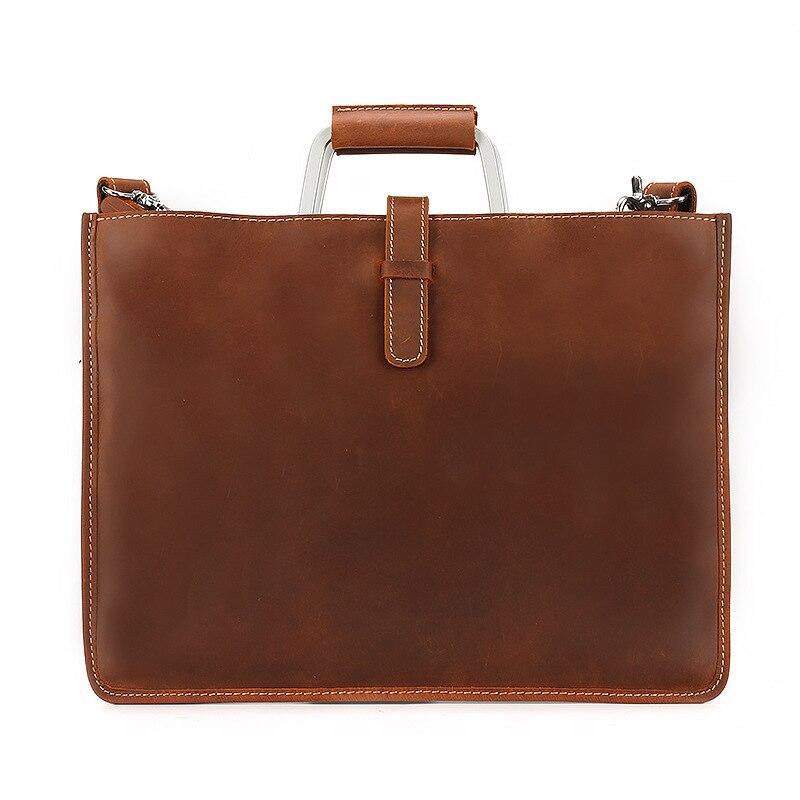 PU cuir vintage hommes dîner en cuir messenger sac sacs d'affaires mâle de haute qualité Crazy horse mallette en cuir pour homme 2019 - 2