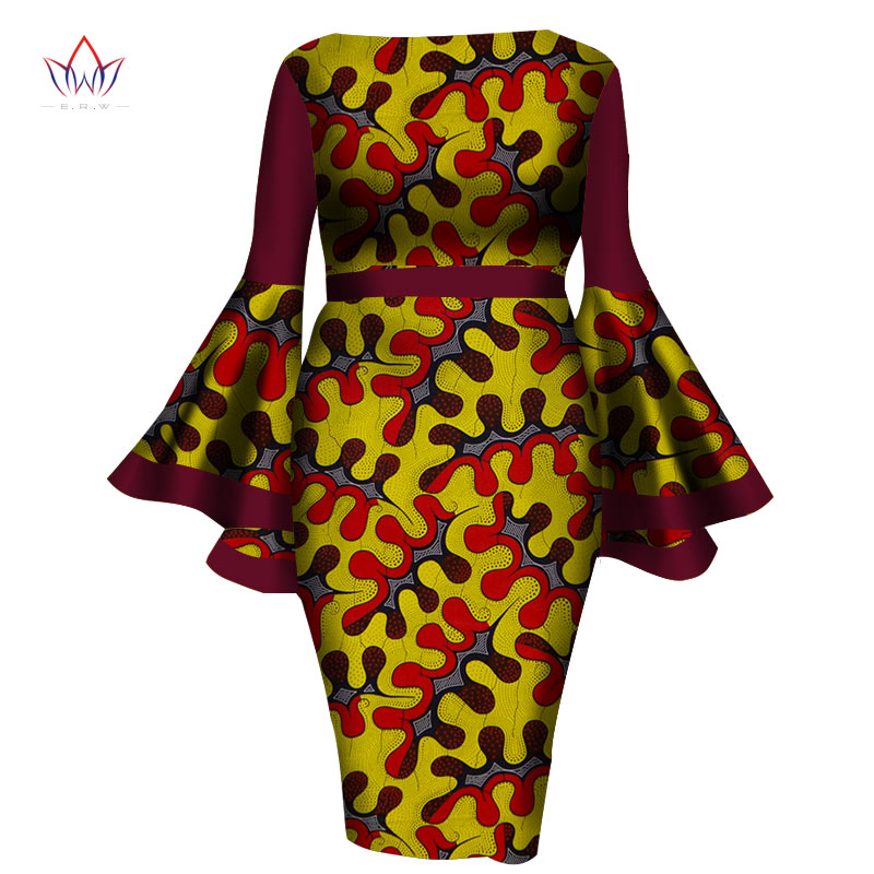 Afrikanske kvinnekjoler 2019 New Summer Lady Print Wax Dresses Bazin Riche Mid-Calf Africa Sexy Speaker sleeves Dress WY1217