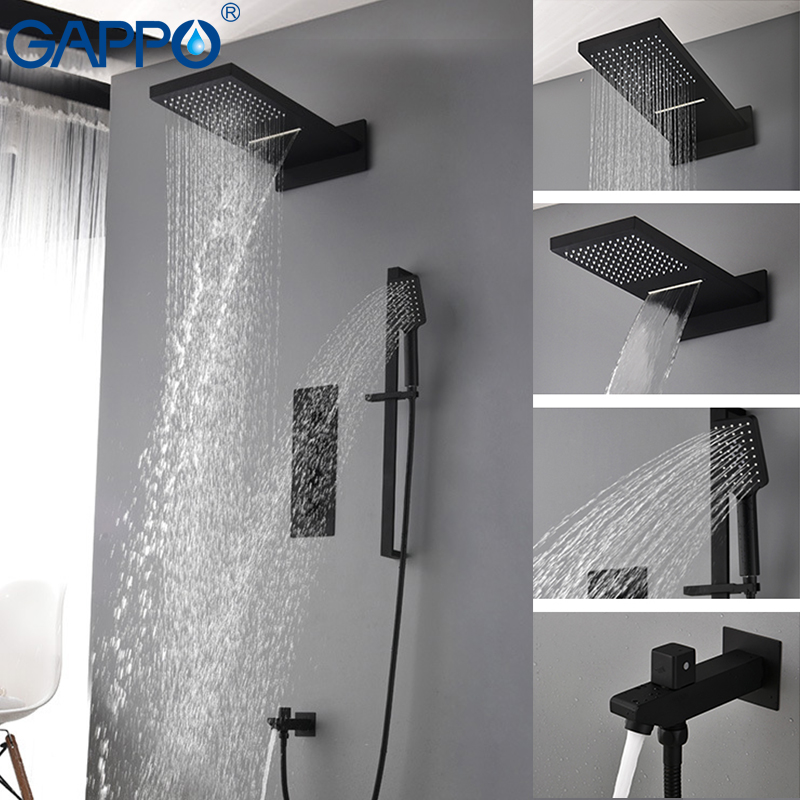 GAPPO ducha baño grifo mezclador de la ducha del LED Cuenca del grifo del fregadero bañera latón lluvia bañera grifos ducha sistema