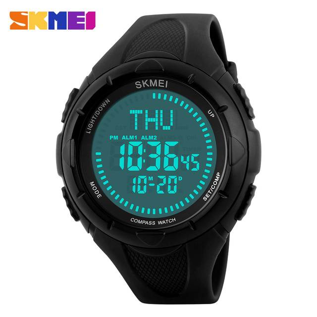 SKMEI Men Sports Watches World Time Compass Countdown Wristwatches 50M Waterproof Alarm Digital Watch Relogio Masculino 1232#