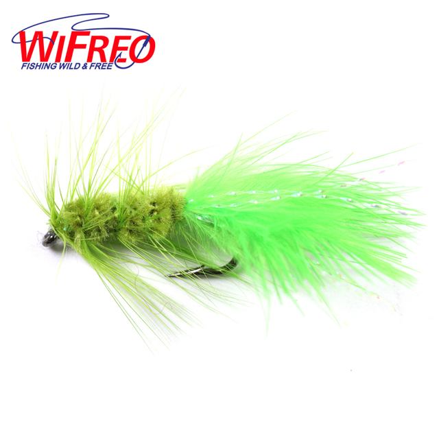 Wifreo 10PCS Olive Color Woolly Bugger Flashabou Tail Fly Fishng Lures Free Box