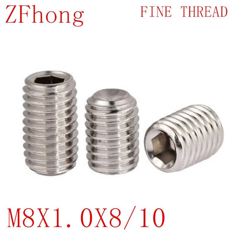 304 Stainless Fine Thread Grub Flat Point Allen Key Socket Set Screws M6 M8 M10