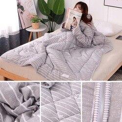 Multifuncional preguiçoso colcha com mangas inverno quente engrossado lavado colcha cobertor p7ding