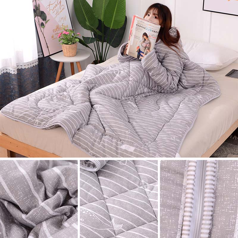 Multifunction Lazy Quilt With Sleeves Winter Warm Thickened Washed Quilt Blanket P7Ding