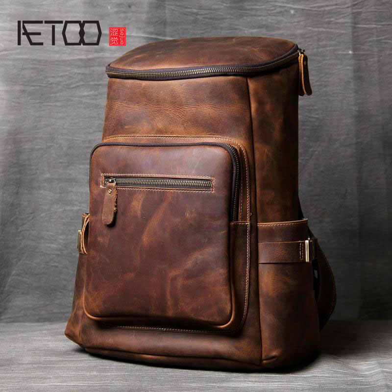 AETOO Handmade leather shoulder bag original import first layer cowhide backpack men and women mountaineering bag travel bag aetoo retro shoulder bag genuine handmade men women casual travel backpack large capacity first layer leather