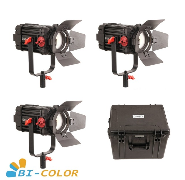 3 Pcs CAME TV Boltzen 100w Fresnel Focusable LED Bi Color Kit Led video light