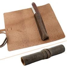 ZY Vintage Flower Stripe Straight Razor Holder Safety Razor Case Genuine Leather Roll Travel Razors Case
