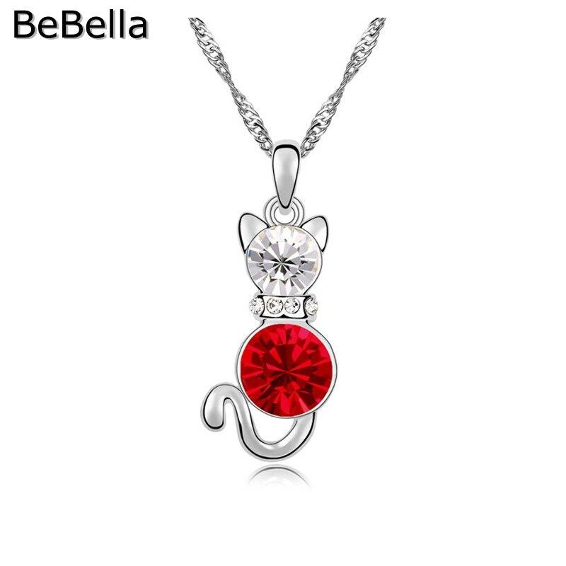 BeBella кристалл кошка кулон ожерелье сделано с чешским кристаллом для женщин подарок - Окраска металла: Light Siam