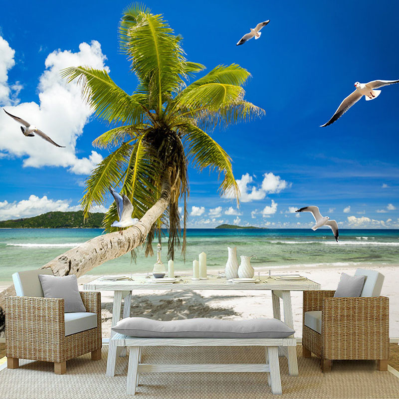 Blue Sky And White Clouds Sandy Beach Coconut Trees Seagull Seaview Custom 3D Photo Wallpaper For Living Room Bedroom Wall Mural custom baby wallpaper snow white and the seven dwarfs bedroom for the children s room mural backdrop stereoscopic 3d