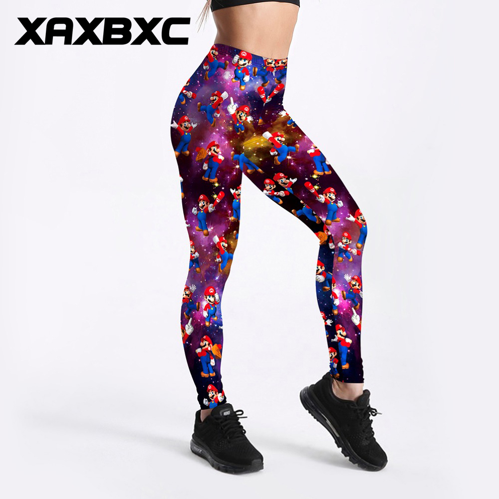 XAXBXC 3449 Sexy Girl Pencil Pant Cartoon Galaxy Super Mario bros Prints Elastic Slim Fitness Workout Women Leggings Plus Size