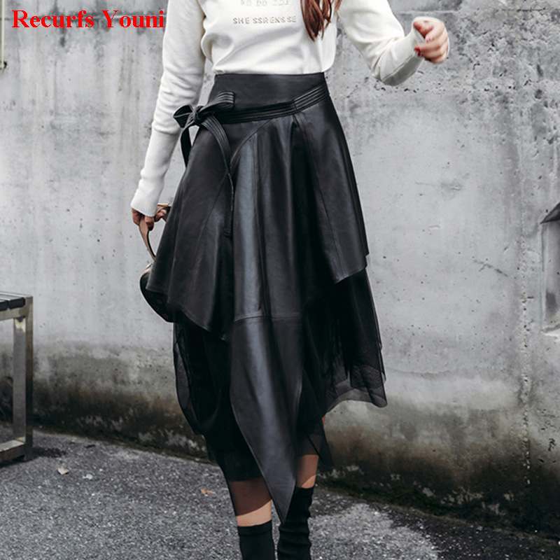 Spring South Korean Style Lady Genuine Leather 85cm Long Maxi Skirt With Belt Woman Novelty Irregular