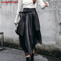 Spring South Korean Style Lady Genuine Leather 85cm Long Maxi Skirt With Belt Woman Novelty Irregular Tulle Voile Jupe Tutu Saia