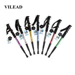 Image 1 - VILEAD 50 105cm Nordic Walking Stick Aluminum Alloy Adjustable Ultralight Outdoor Travel Hiking Trekking Poles Portable Cane