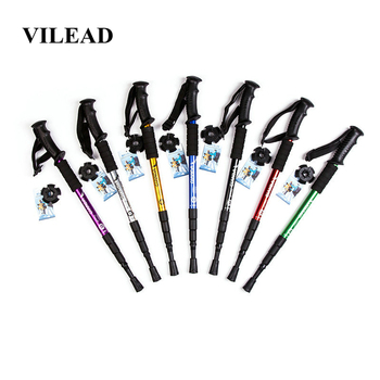 VILEAD 50-105cm Nordic Walking Stick Aluminum Alloy Adjustable Ultralight Outdoor Travel Hiking Trekking Poles Portable Cane outdoor anti fall cane folding blind stick 4 sections folding blind guide cane aluminum walking stick w climbing goods