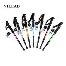 VILEAD 50 105cm 노르딕 워킹 스틱 알루미늄 합금 조정 가능한 초경량 야외 여행 하이킹 트레킹 폴 휴대용 지팡이