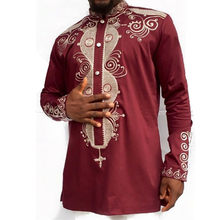 0b9b925c87 Men Hip Hop Tops African Clothes Long Sleeve Stand Collar Button Decor  Printed African Dashiki Traditional Shirt Men Red Color