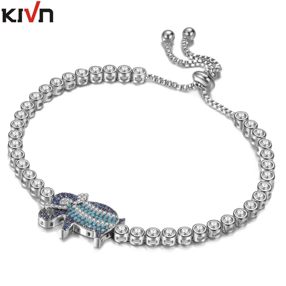 Womens Fashion Jewelry CZ Cubic Zirconia Animal Cute Elephant Womens Girls Wedding Bridal Bracelet Gifts 6pcs Lot Wholesale