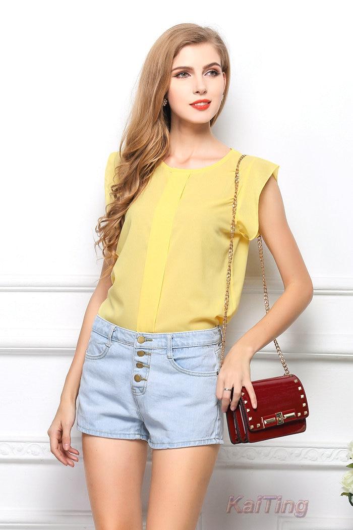 HTB1uOrWGFXXXXarXXXXq6xXFXXXF - Short Butterfly Sleeve Women Blouses Clothing Casual Chiffon Shirt