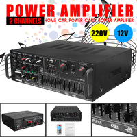 Home Stage Car 220V 12V Professional 2 Channel 300w+300w Audio Power Amplifier AMP Stereo USB/SD Card Play Black Universal