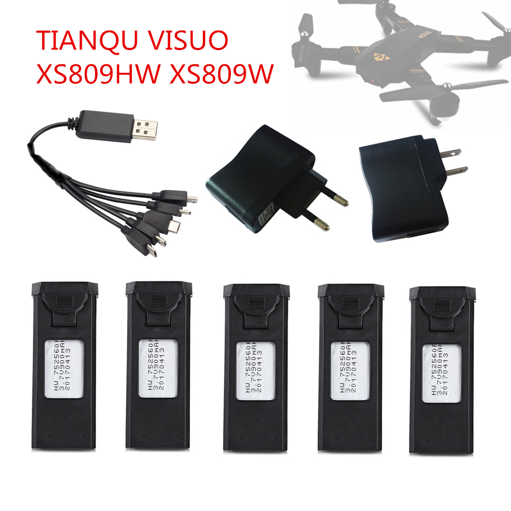 TIANQU VISUO XS809HW XS809W RC Quadcopter Spare Parts Accessories 3.7V 900mAh Lipo Battery Rechargeable for RC Drones