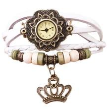 Relogio Feminino Quartz Weave Round Leather-based Crown Bracelet Girl Girl Wrist Watch New Design Women Costume Watches