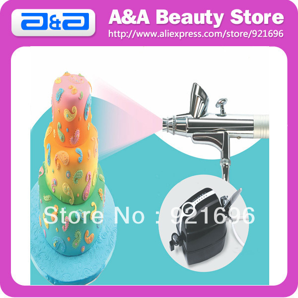 Cake Bakery Airbrush Kit Mini Compressor 5 Speed with Airbrush 0.3-0.5mm Nozzle 2CC FREE SHIPPING
