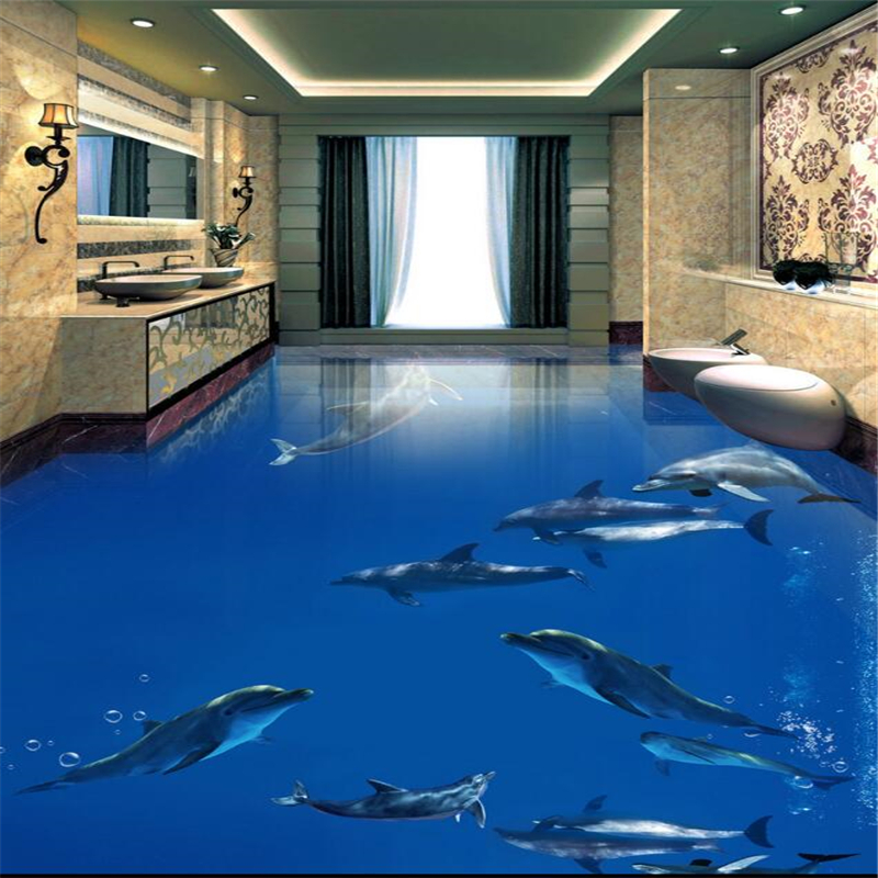 Beibehang Dolphin underwater world floor murals 3D wallpaper floor living room PVC waterproof floor self - adhesive 3D floor  beibehang summer beach floor floor murals wall stickers 3d wallpaper for living room pvc floor self adhesive papel de parede 3d