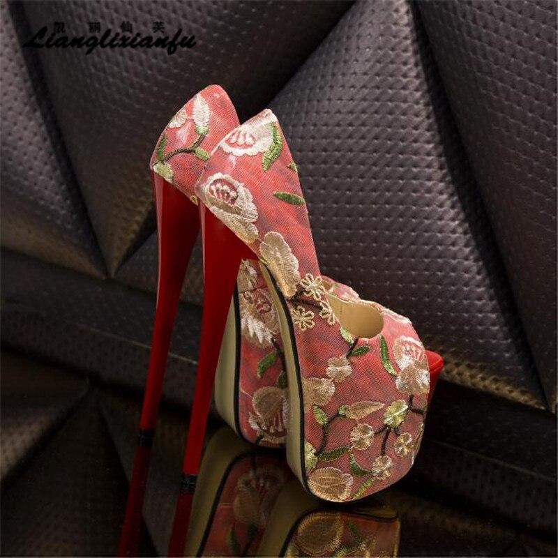À Broderie Cm Femmes Stiletto D'été kaki Rouge Pompes Hauts Talons 34 42 Mariage Sandales Rouge Toe Llxf Plus Rétro 43 Peep Mince Des 22 Femme De Chaussures nZYwRppCq